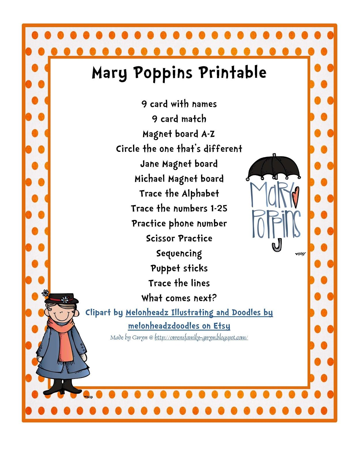Mary Poppin's Printable  On sale for 75 cents