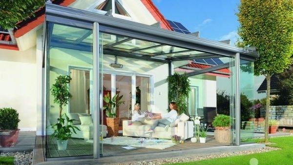 Schiebetür Terasse verglaste terrassen garten schiebetüren weißes sofa