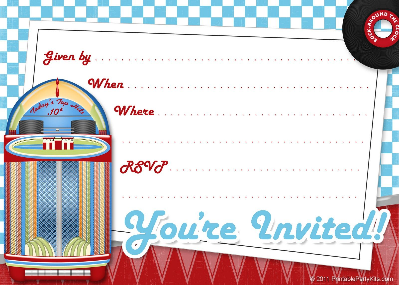 Free Printable Party Invitations Free Printable 1950s Party – 1950s Party Invitations