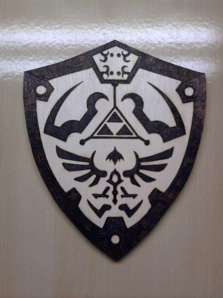 Escudo Link Zelda Wind Waker Quadro Pirógrafo Brasão R no