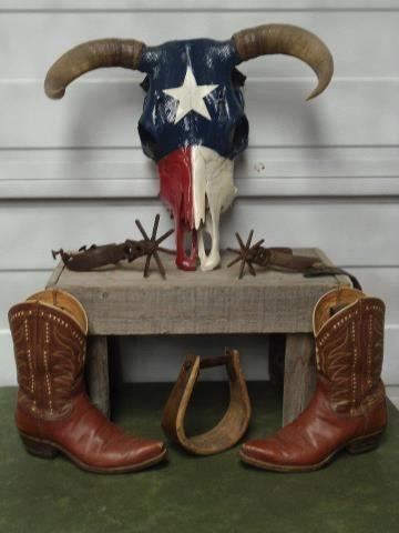 cow skull, spurs, boots, stirrup....