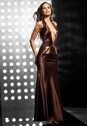 Extrem Sexy Cocktailkleid Abendkleid Lang Braun www.modekarusell.eu ...