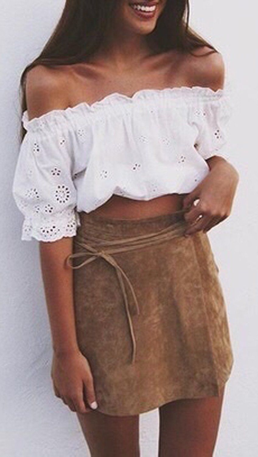 0b381eefbf50 Cute Teenage Teen Bohemian Boho Outfits for Summer 2017 - Tanned Skin -  White Off the Shoulder Top - Suede Leather High Waisted Skirt -  MyBodiArt.com