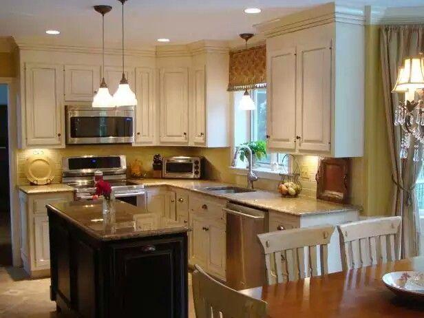 Cupboards- white with black island kitchen ideas Pinterest