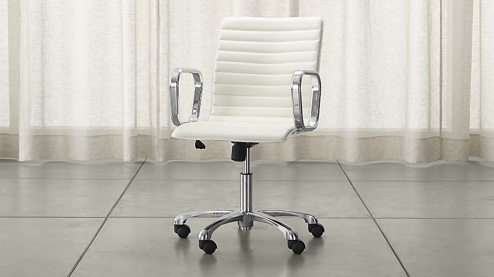 Ripple Ivory Leather Office Chair With Chrome Base Chair Modern