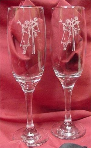 Nightmare before christmas wedding flutes