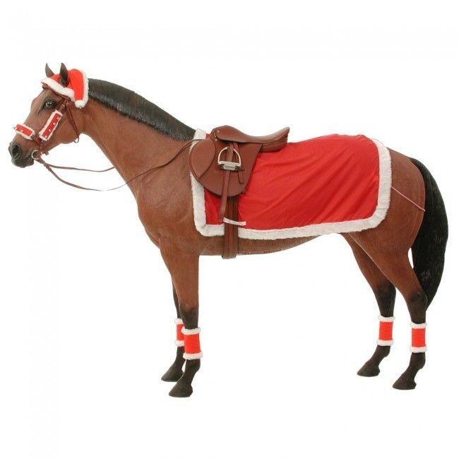 Christmas Horse SANTA CLAUS Costume Hat Sheet Leg Wraps Bells Halter 9 pc  Set #tough1 #Santacostume - Christmas Horse SANTA CLAUS Costume Hat Sheet Leg Wraps Bells Halter