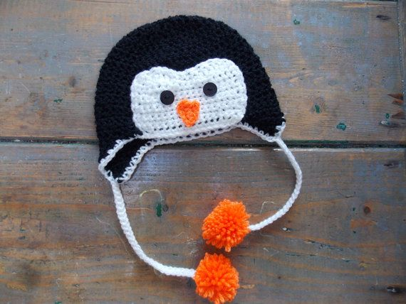 Check out this item in my Etsy shop https://www.etsy.com/ie/listing/205420844/penguin-ear-flap-hat-size-newborn-child