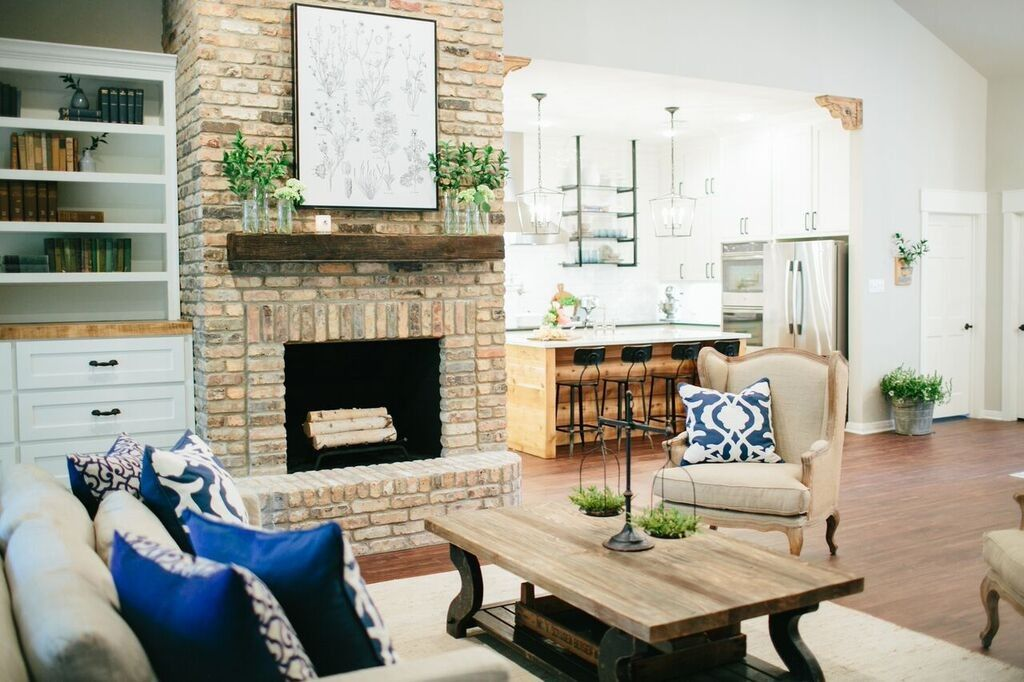 Fixer upper fireplace living rooms brick fireplace and for Upper living room designs