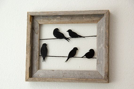 Birds On A Wire Picture Frame Bird Silhouettes In Frame Rustic Wall Art Wire Picture Frames Bird Silhouette