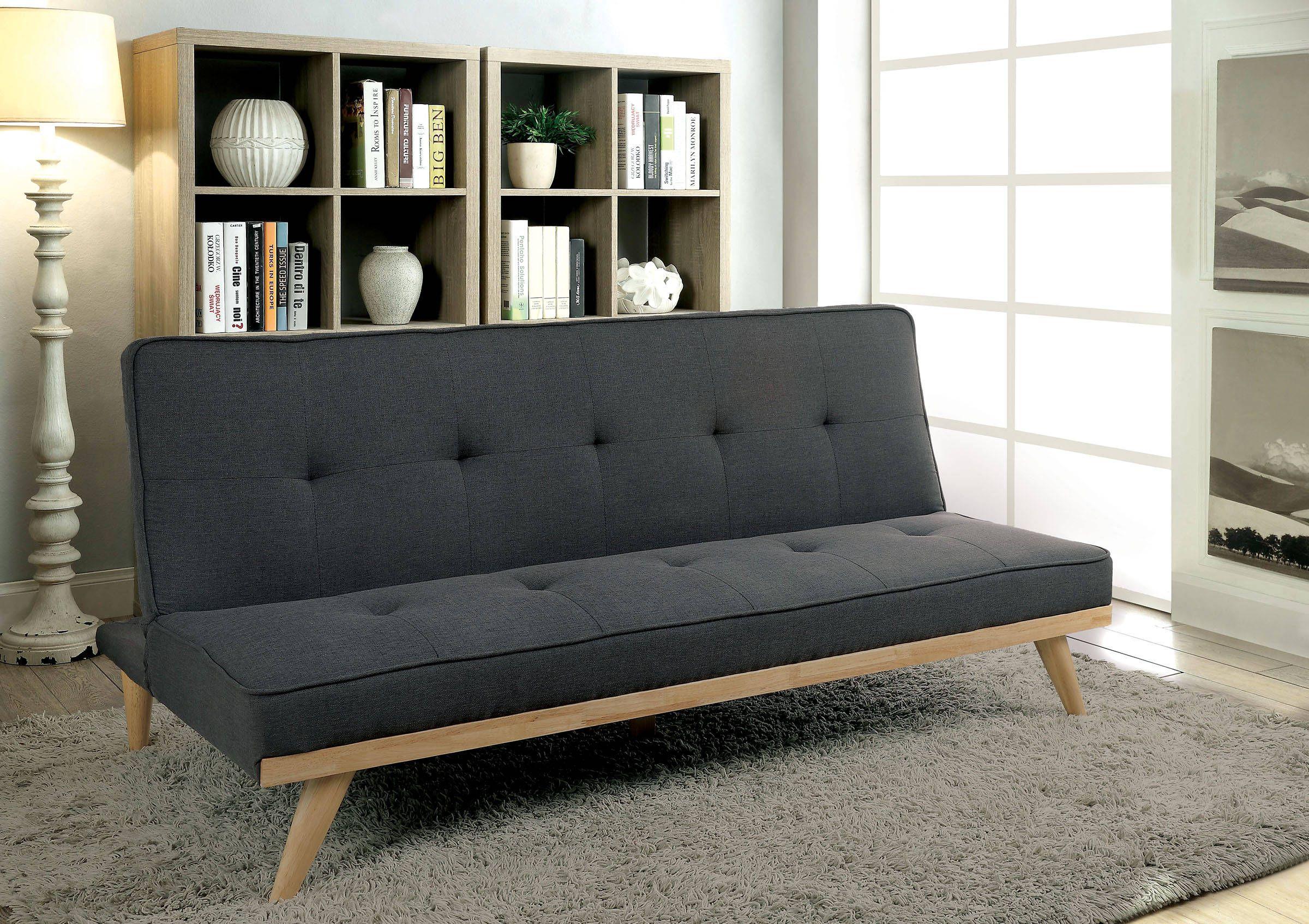 Lyra Contemporary Gray Fabric Futon Sofa   The Classy Home Furniture ...