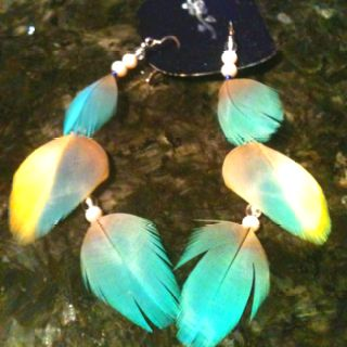 Coco feathers, with sterling silver hooks and opal beads