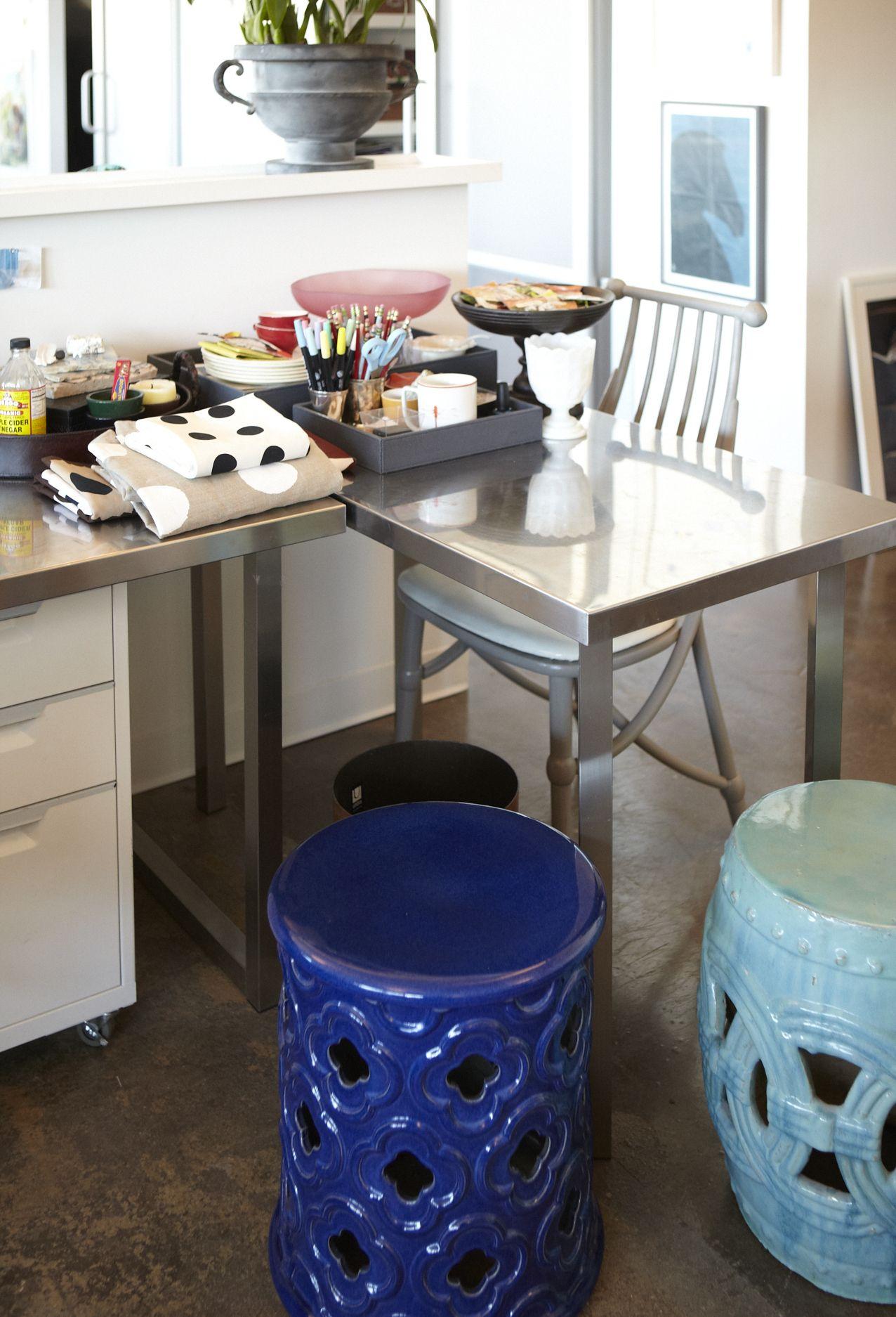 blue garden stool. #onekingslane Garden Stools - Love The Shape Of Cobalt Blue Stool O