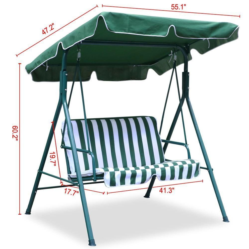 World pride seater green outdoor patio garden swing cushioned
