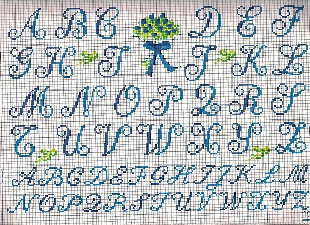 alfabeto iniziali bouquet - magiedifilo.it punto croce uncinetto ...
