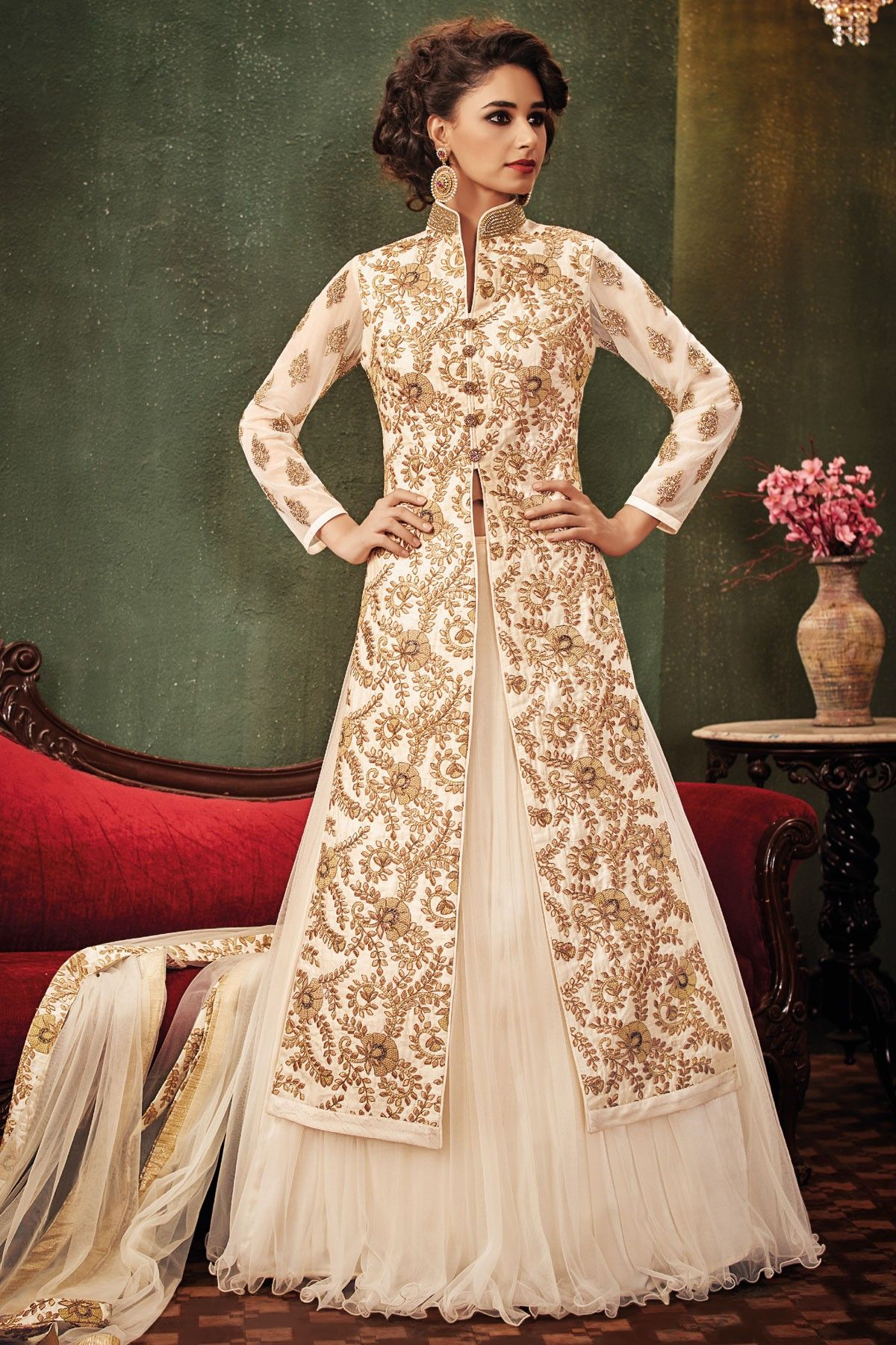 a6a4f831eb8c76  Cream    gold embroidered raw  silk   net  glamorous  lehenga with long  jacket  blouse -GC415