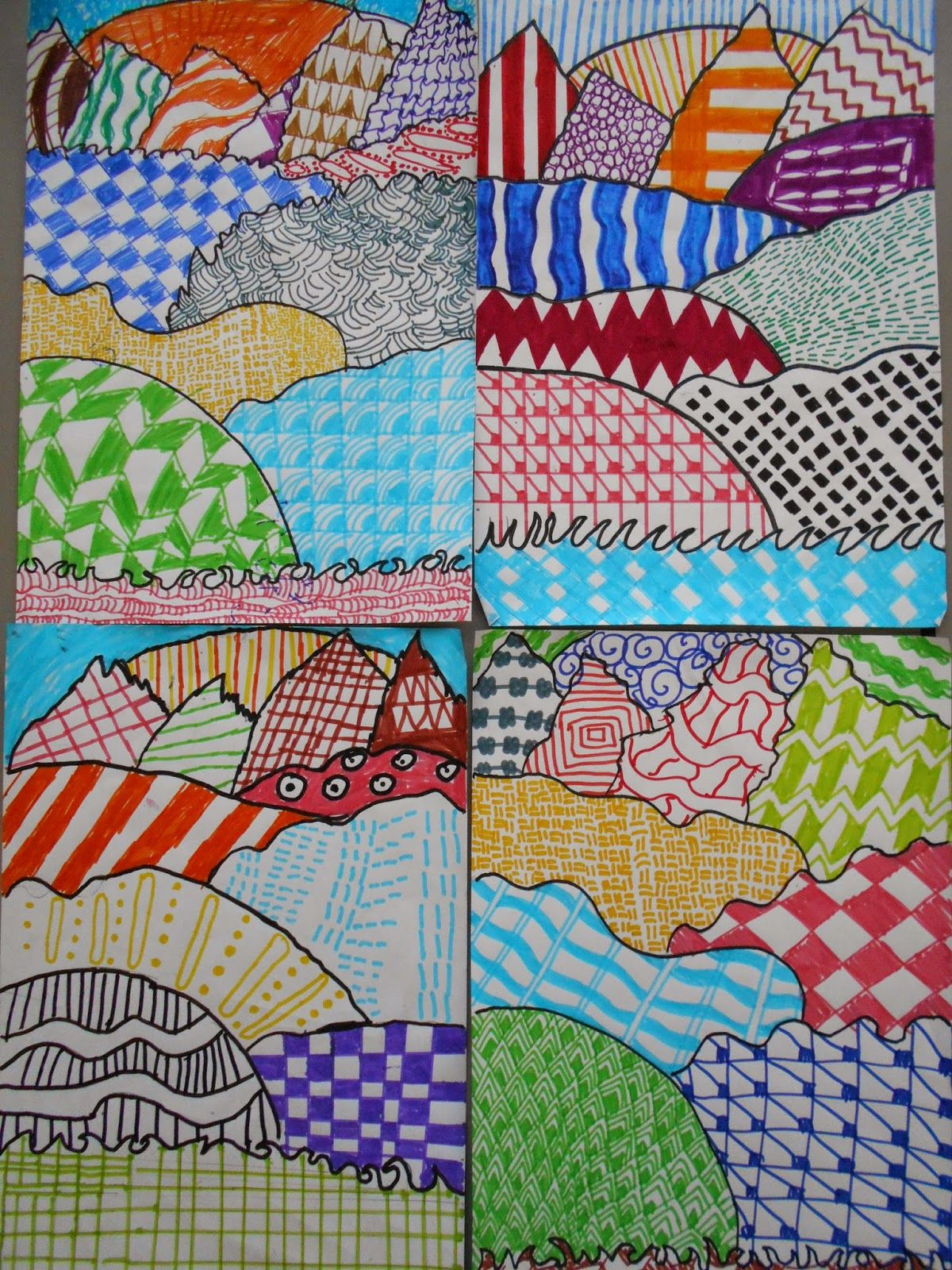Zentangle Landscapes And Mountains