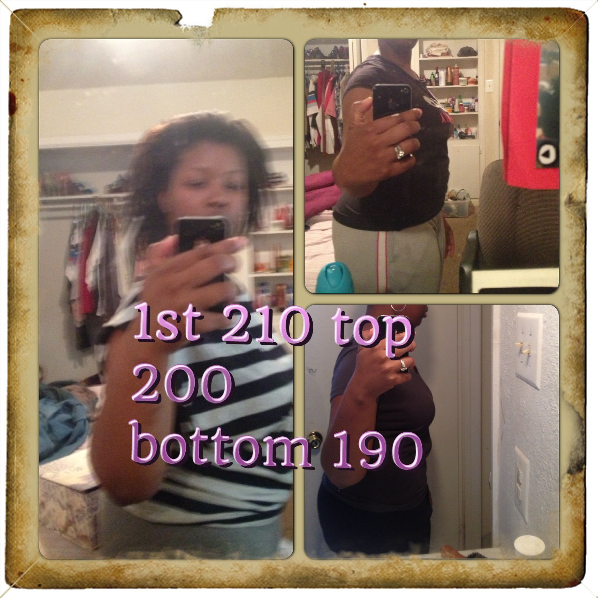 In May i started out at 210 and then by june 200 and then july/august 190 i have to look at these pictures when im tempting to eat the wrong things.