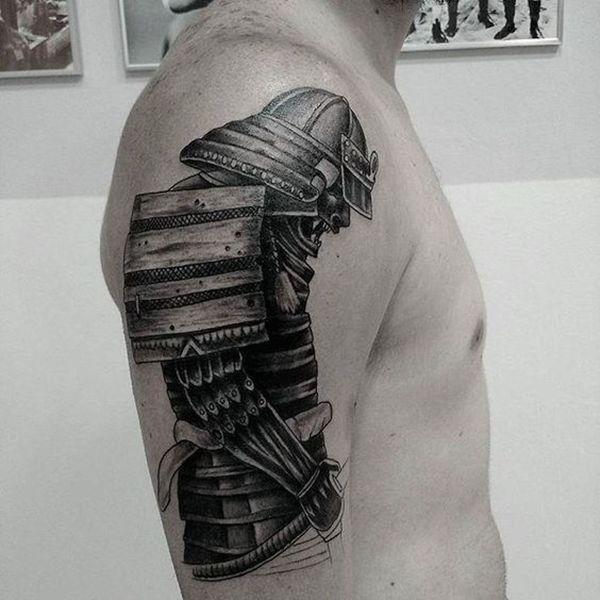 Black Ink Samurai Warrior Tattoo On Man Right Half Sleeve - Best traditional samurai tattoo designs meaning men women