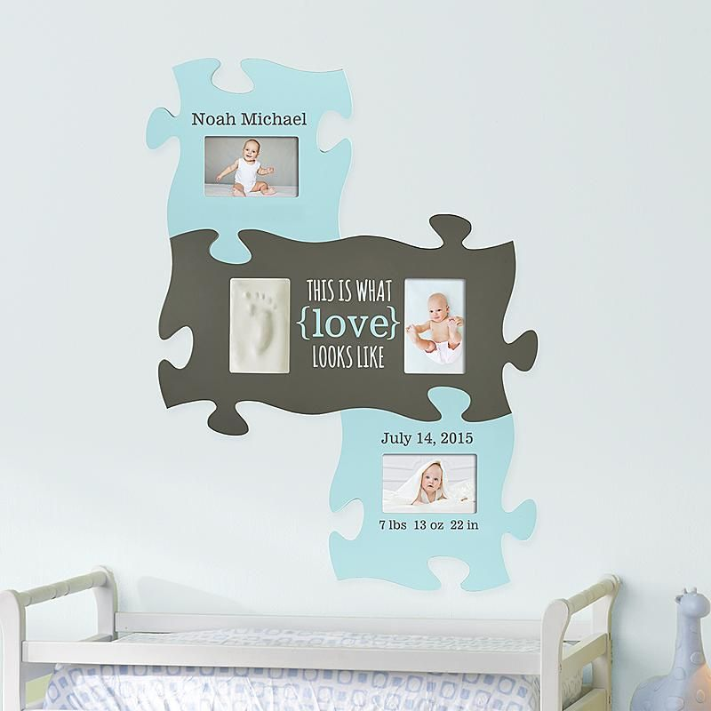 Tell babys story piece by precious piece includes all their need a unique gift send baby print puzzle frame print set blue and other personalized gifts at personal creations negle Choice Image