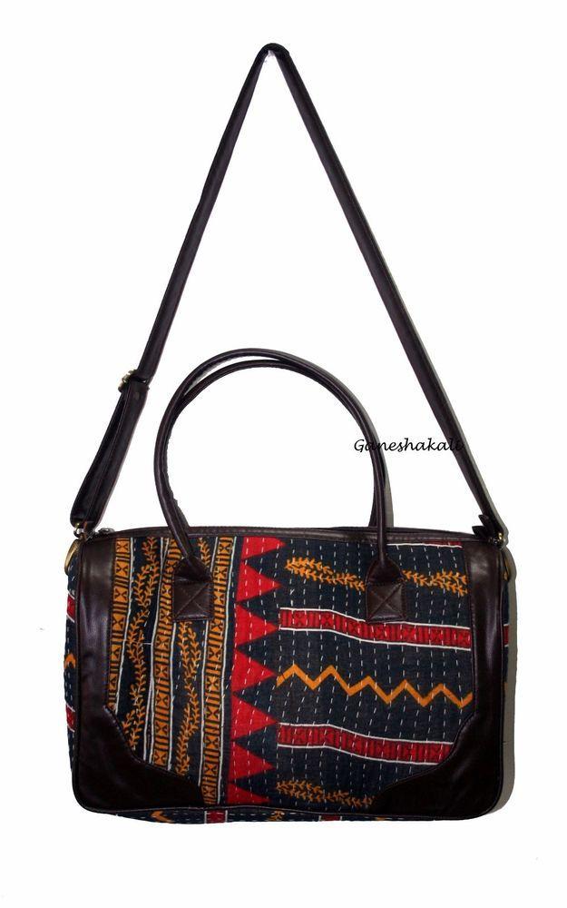 Cotton Kantha Handmade Tote Bag Crossbody Shoulder Indian Quilted Kashmirimports Artdecostylecrossbodytote