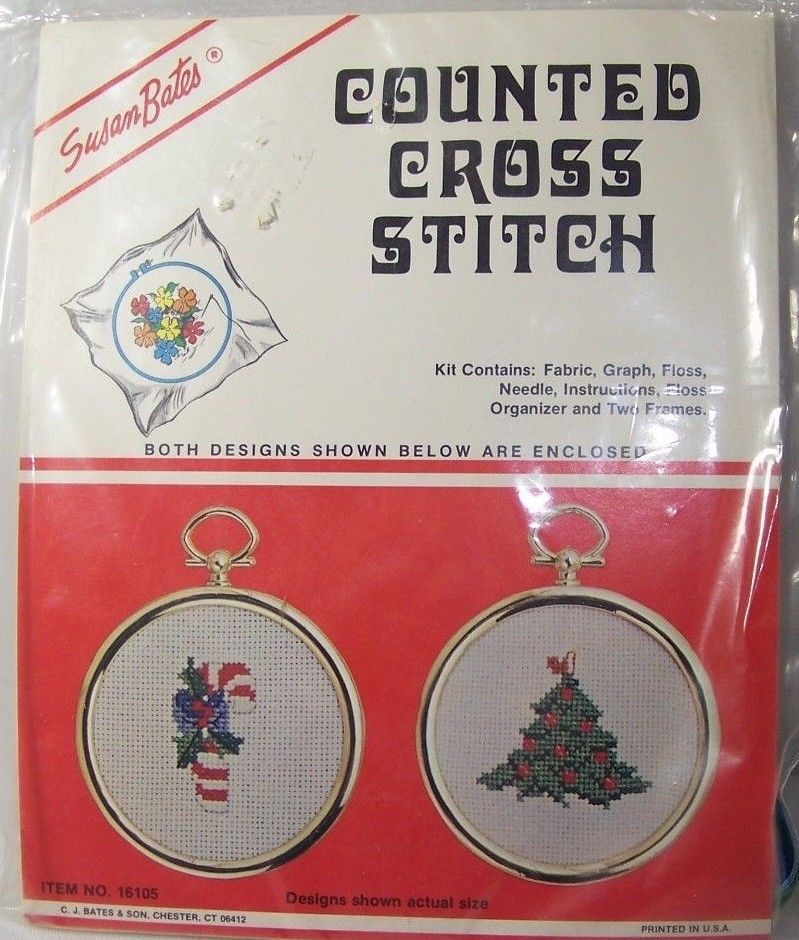 Vintage Christmas Susan Bates Counted Cross Stitch Two Ornament Kit ...