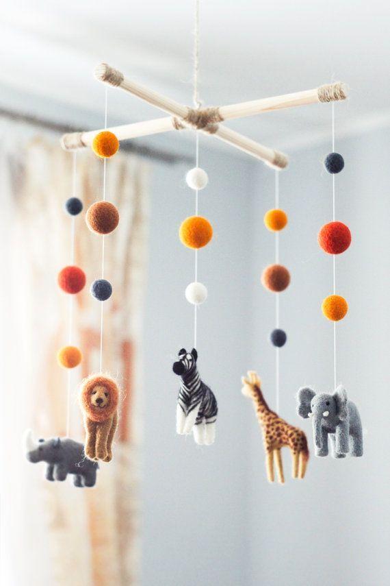 Needle Felted Baby Mobile, Safari animals, Elephant Zebra Giraffe Baby Crib Mobile #baby #nursery #babyshowergift #safari #affliate