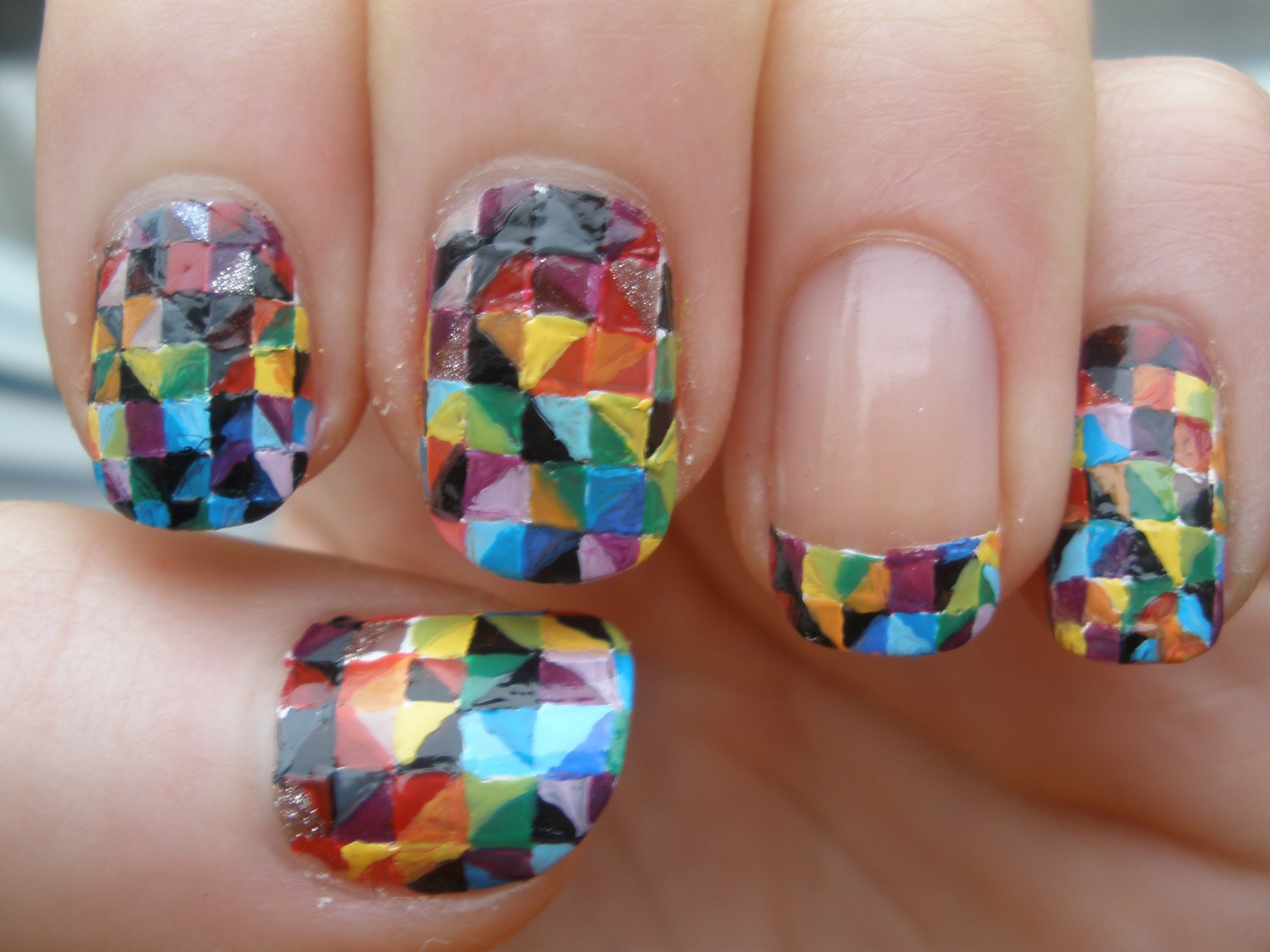 How to paint Colorful Kaleidoscope nail art step by step DIY ...