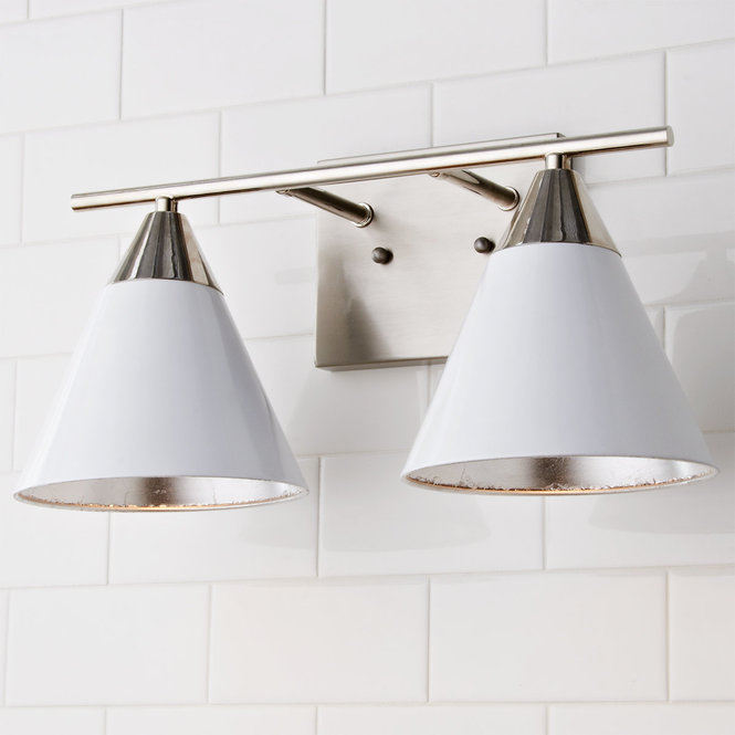 Young House Love Clad Cone Vanity Light 2 Light Vanity Lighting Young House Love Vanity Light Bar