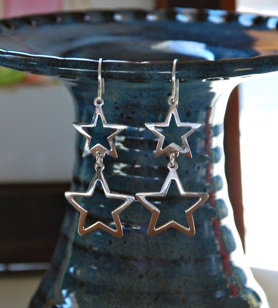 Earrings sterling silver star charm dangles-smooth sterling silver hanging stars…