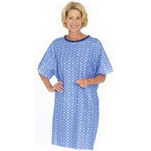 Salk Company - 550BP - Tieback Patient Gown, Blue Plaid, One Size