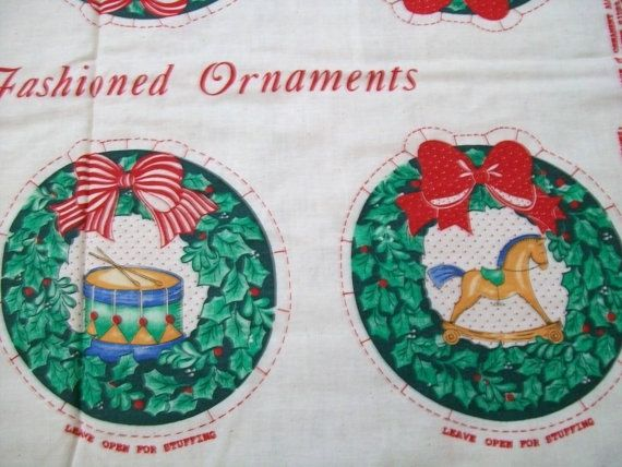 Christmas Fabric Panel Fabric Wreath Panel DIY Supplies Crafts Supplies.