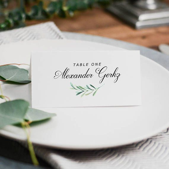 Greenery Place Card Template Printable Place Cards Wedding Place - Placement card template