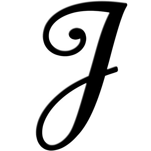 Letter J Black Fancy Script Initial It Metal Letter | Baby Gifts