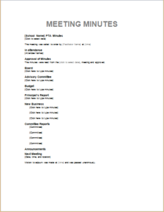 Pta Meeting Minutes Download At HttpWwwTemplateinnCom