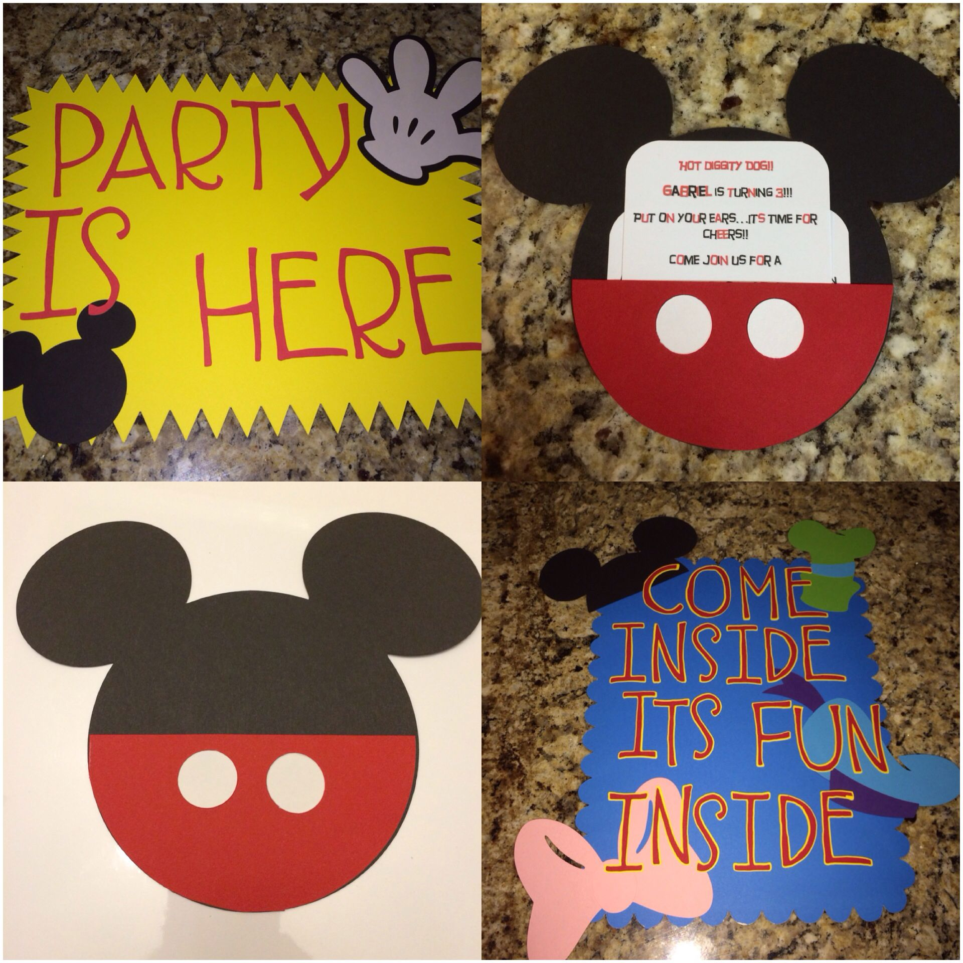 Mickey Mouse Birthday Invitations And Signs Made With Cricut Mickey