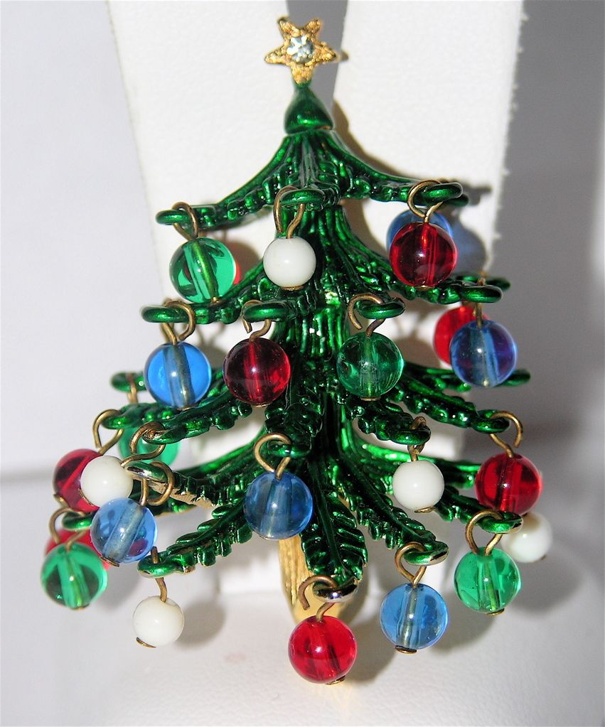 Hattie Carnegie 3D Glass Ornament Christmas Tree Pin