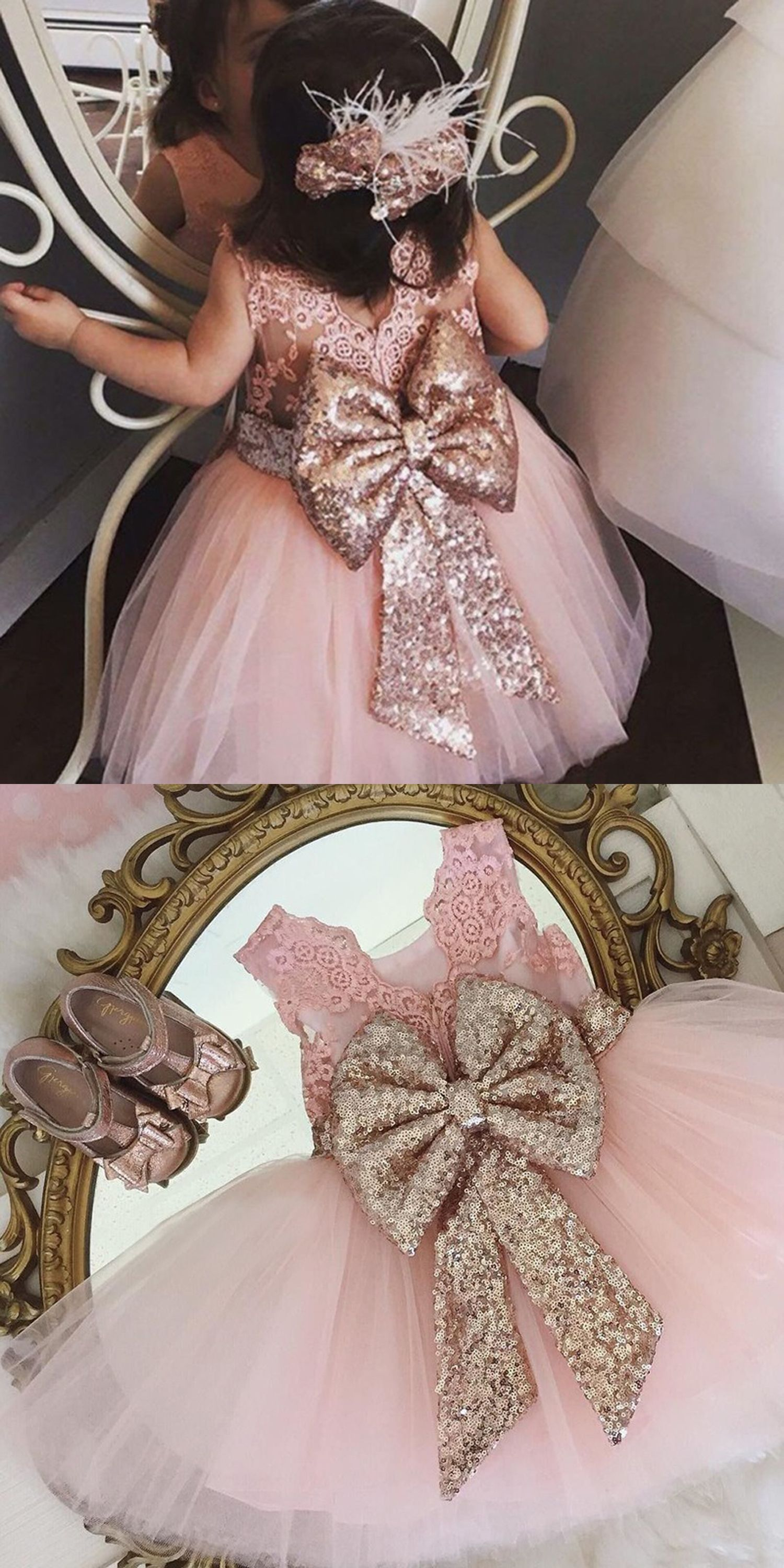 Ball gown jewel pink tulle flower girl dress with lace sequins
