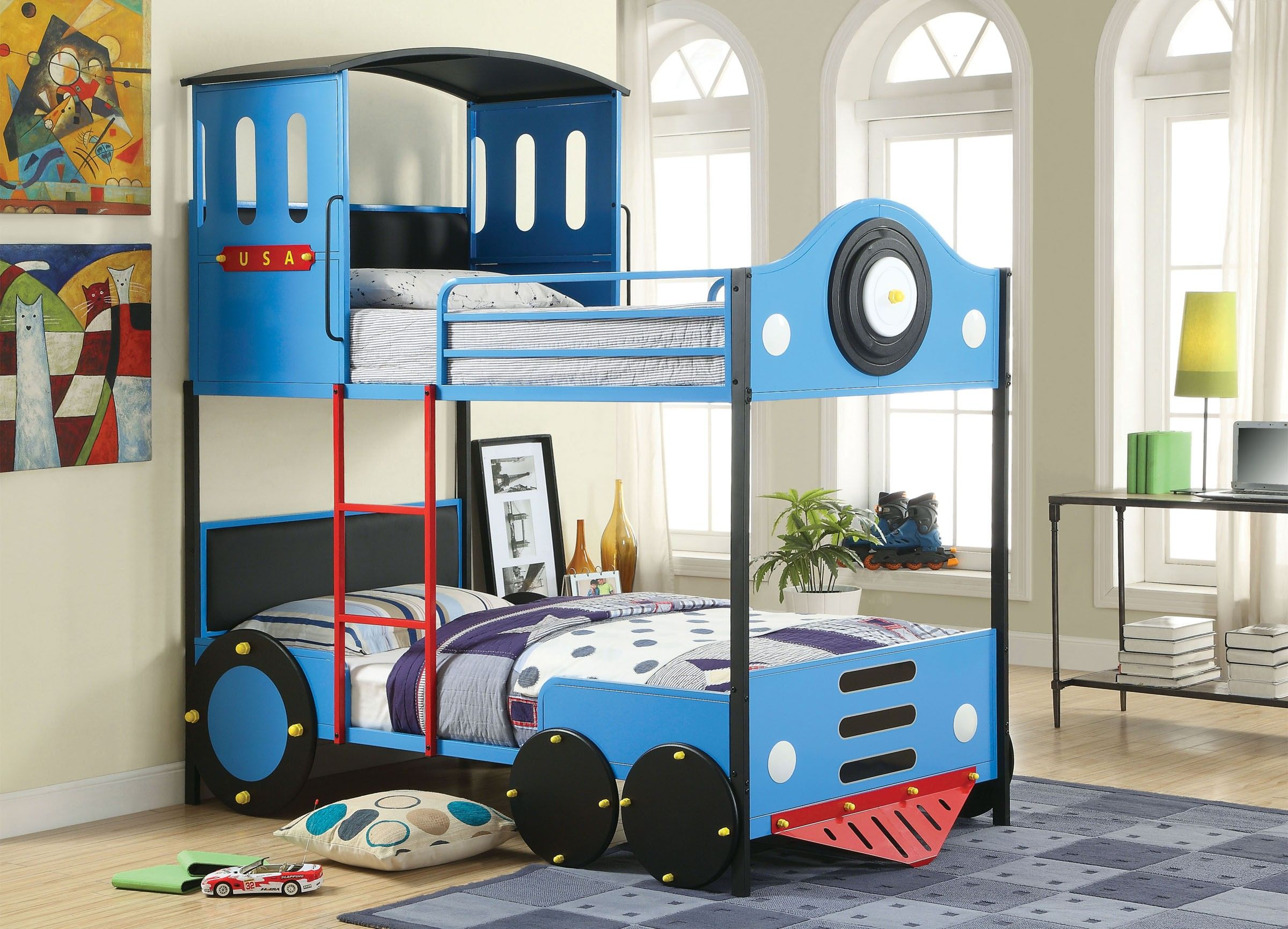 retro express ii cm bk1042 blue train design twin over twin bunk bed