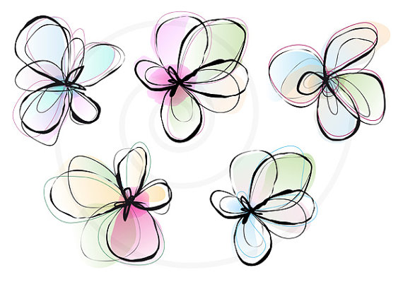 Abstract spring flowers digital clip art set ink drawing abstract spring flowers ink drawing watercolor by illustree 500 httpsetsylisting126710844abstract spring flowers ink drawingref mightylinksfo