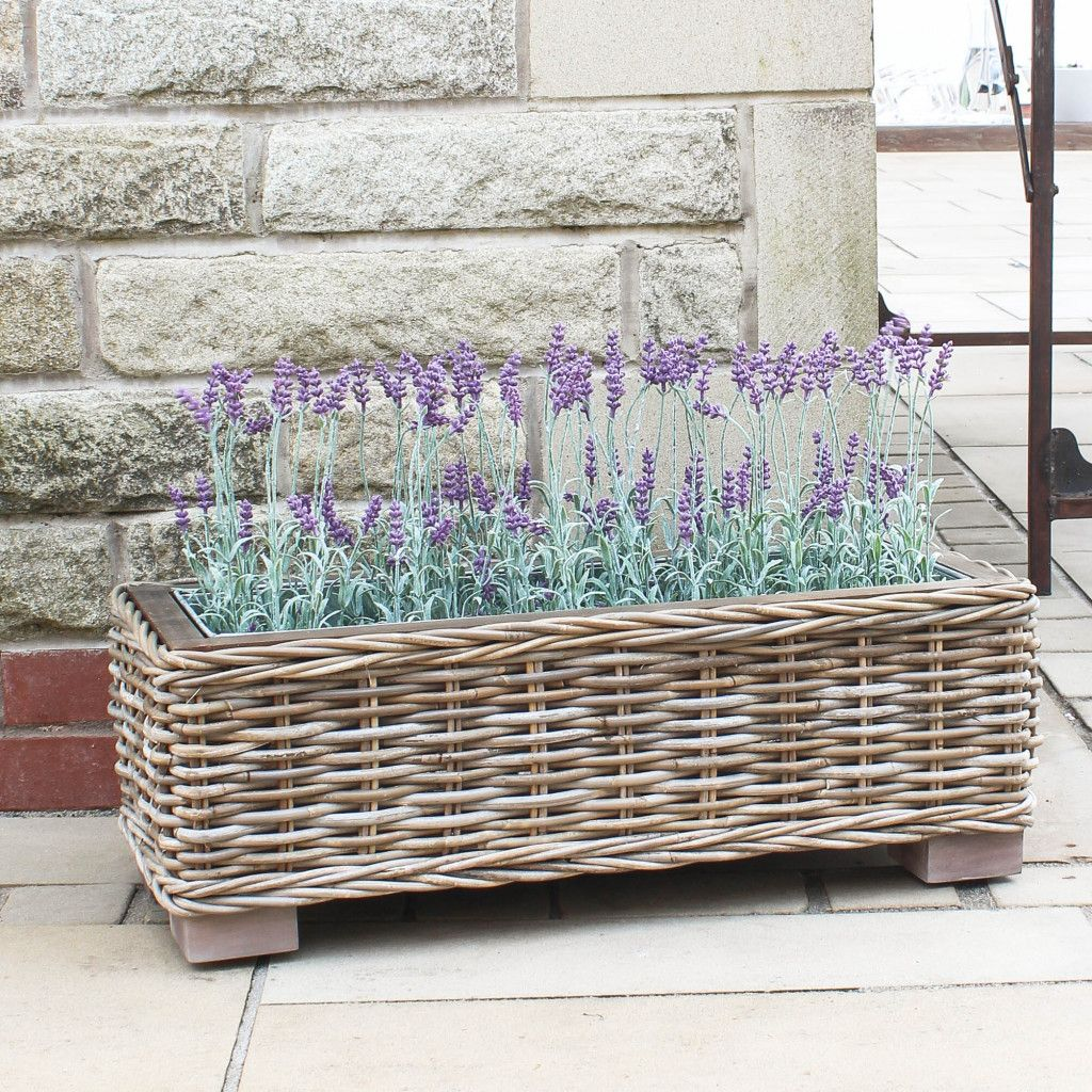 Large Rattan Trough Planter