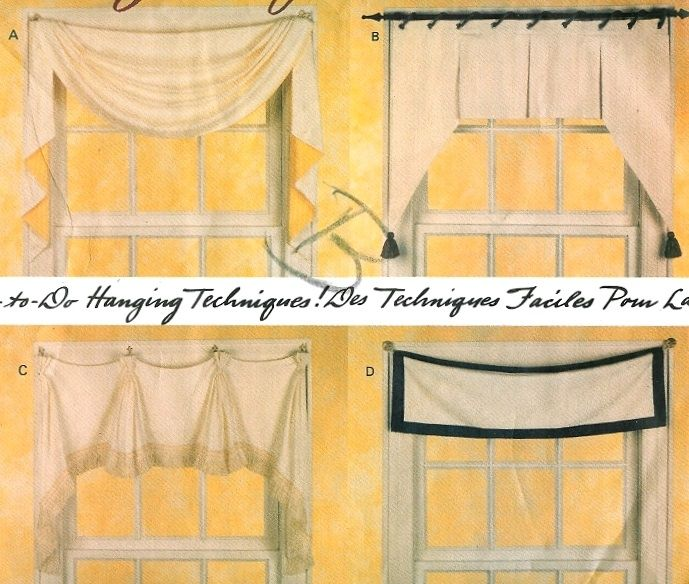 Window Toppers Curtain Valance Swag Shade Vogue Sewing Pattern