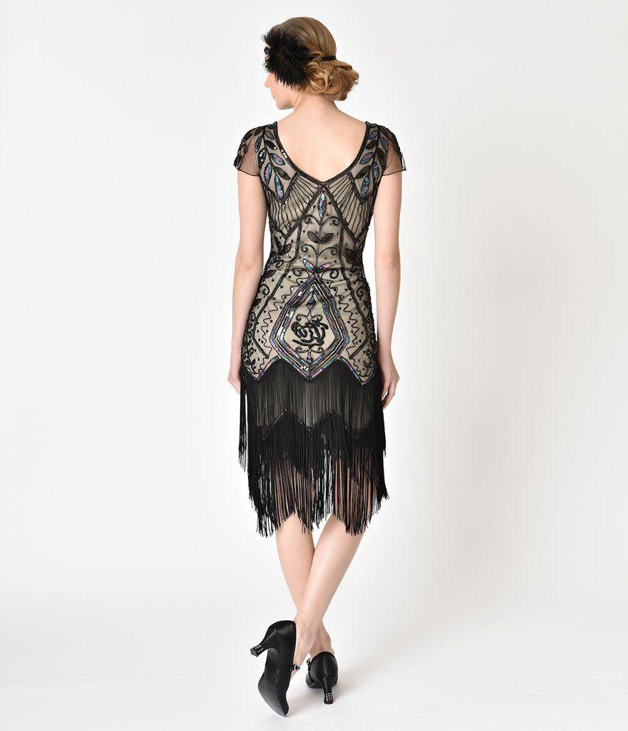 Unique Vintage 1920s Black Rose Champagne Noele Fringe Flapper Dress Fringe Flapper Dress Flapper Dress 1920s Fashion [ 1023 x 879 Pixel ]