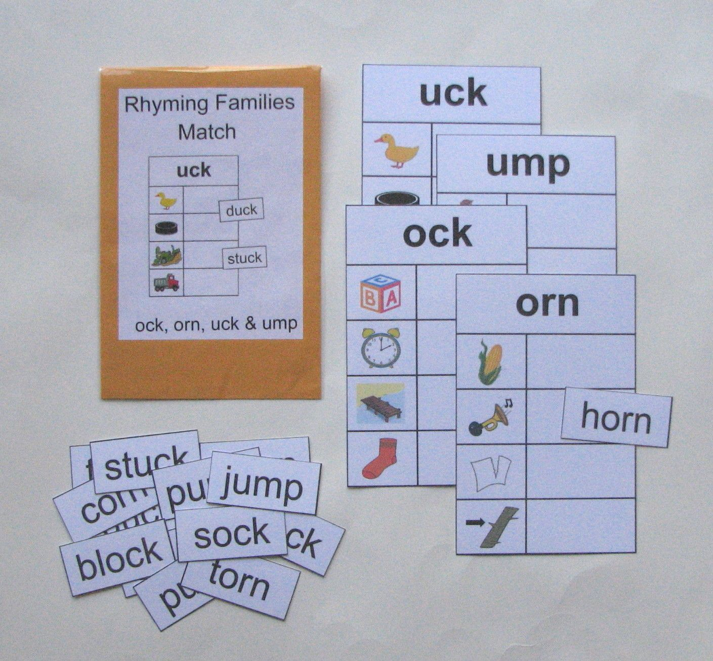 Rhyming Families Match Children Can Practice Working With