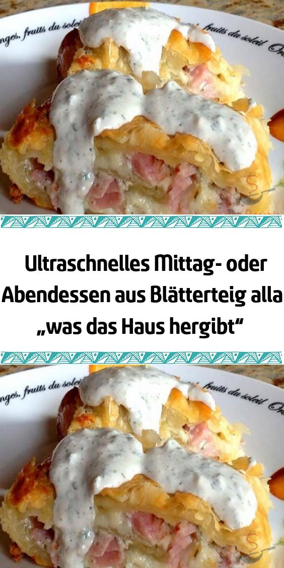 """Ultraschnelles Mittag- oder Abendessen aus Blätterteig alla """"was das Haus hergibt"""" #abendessenschnell"""