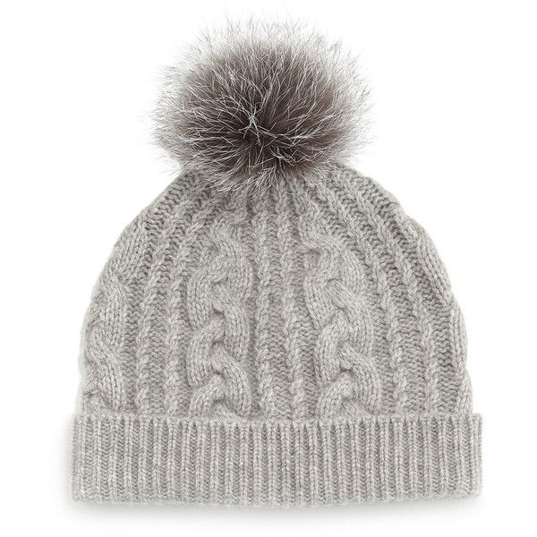38e181ccb2cdb2 Sofia Cashmere Cashmere Cable-Knit Hat w/Fur Pom Pom ($105) ❤ liked on Polyvore  featuring accessories, hats, beanie, grey, sofia cashmere, grey cashmere ...