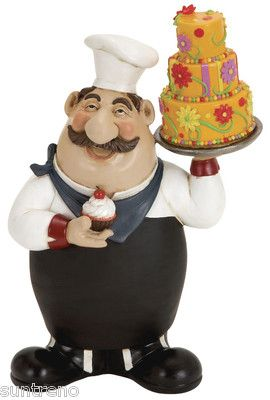 Italian Fat Chef With 3 Tier Cake U0026 Cupcake Bistro Kitchen Decor Figural  Statue (:
