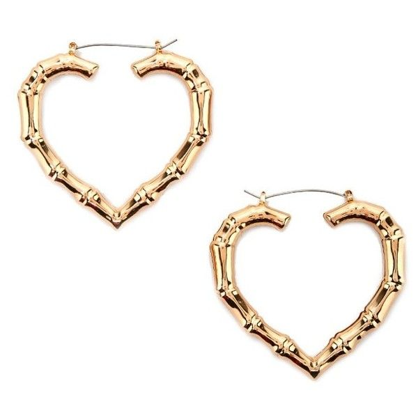 Forever21 Bamboo Texture Heart Hoop Earrings 4 90 Liked On Polyvore Featuring Jewelry Gold Shaped Yellow