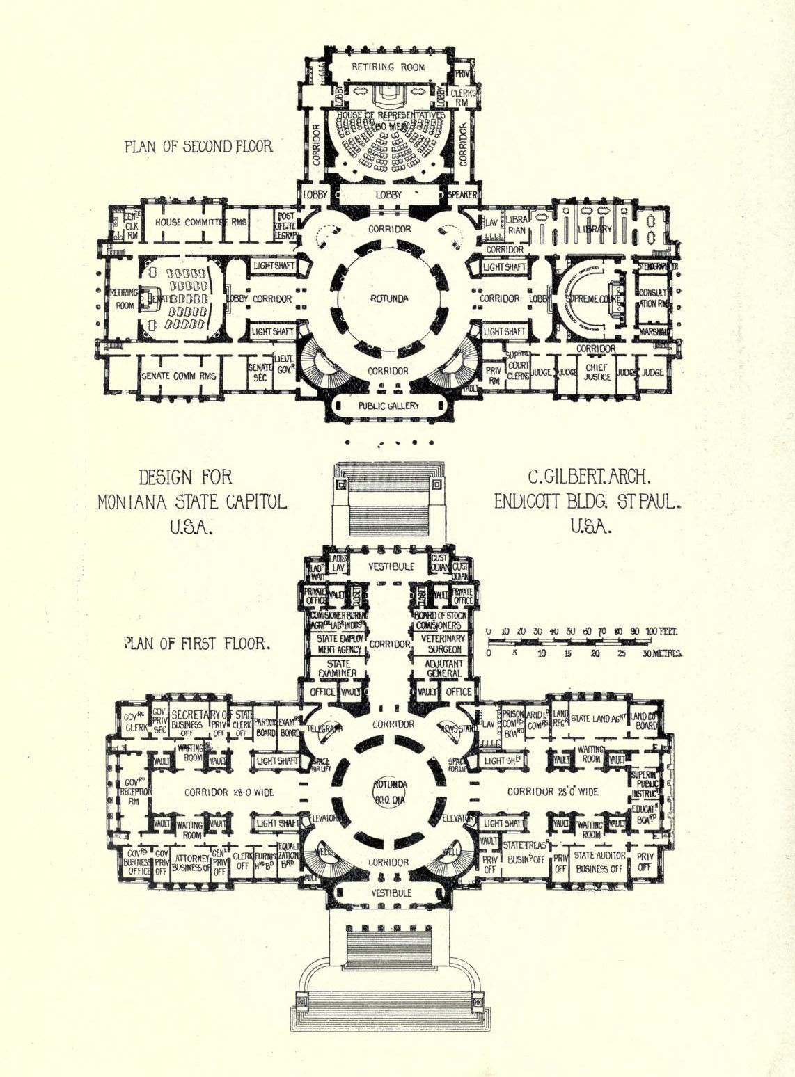 Floor Plans For Cass Gilberts Montana State Capitol Building Cass - Us-capitol-floor-map