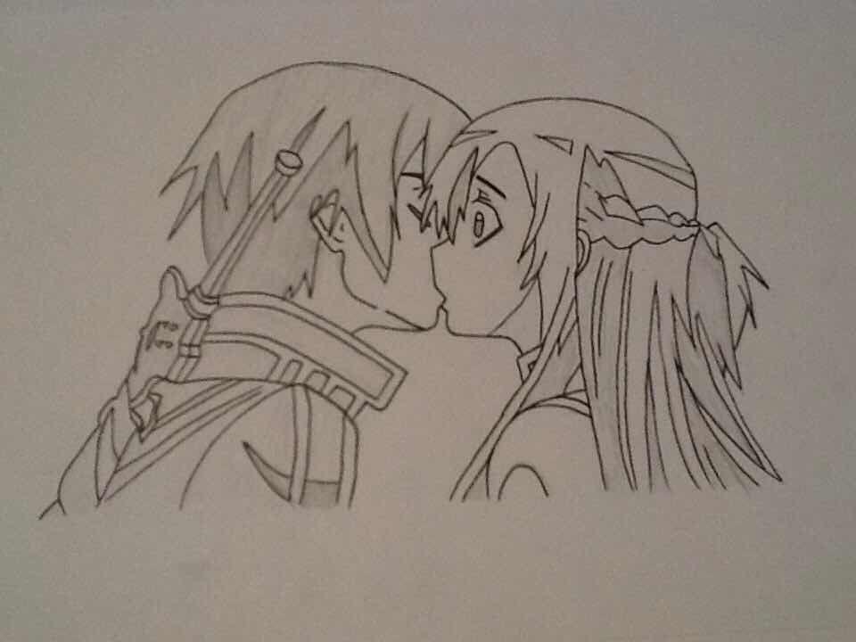 Asuna and Kirito Kiss - Sword Art Online | Drawings | Pinterest ...